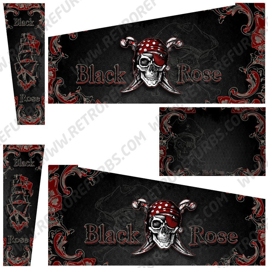 Black Rose Alternate Pinball Cabinet Decals Flipper Side Art