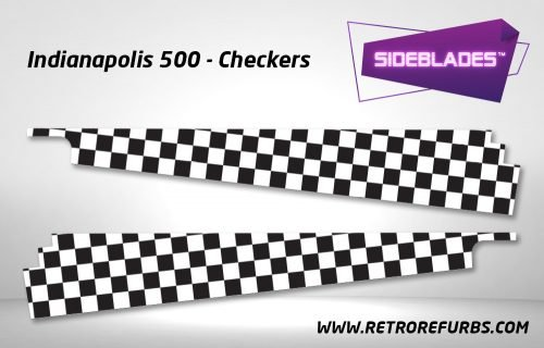 Indianapolis 500 Checkers Pinball SideBlades Inside Decals Sideboard Art Pin Blades