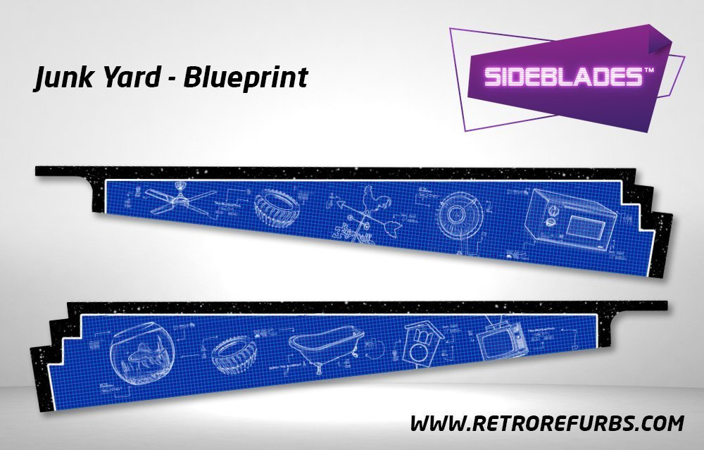 Junk Yard Blueprint Pinball SideBlades Inside Decals Sideboard Art Pin Blades