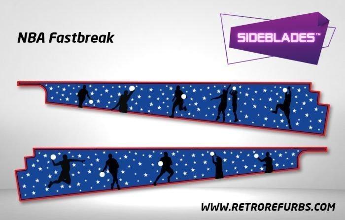 NBA Fastbreak Pinball SideBlades Inside Decals Sideboard Art Pin Blades