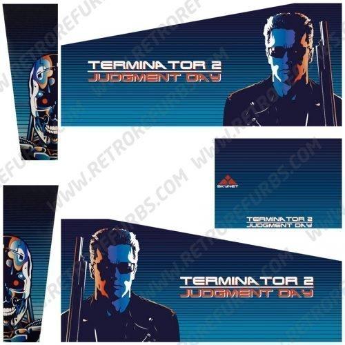 Terminator 2 Blue Alternate Pinball Cabinet Decals Flipper Side Art