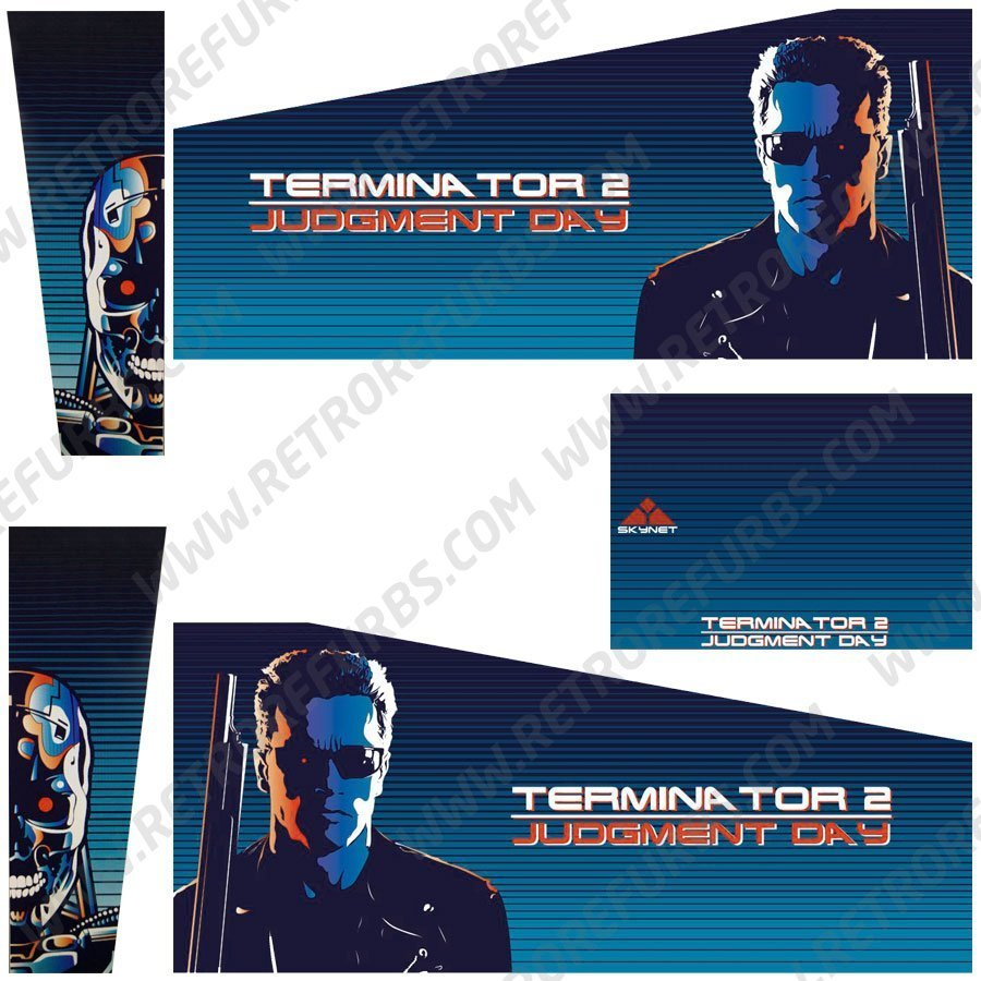 Terminator 2 Blue Alternate Pinball Cabinet Decals Flipper Side Art