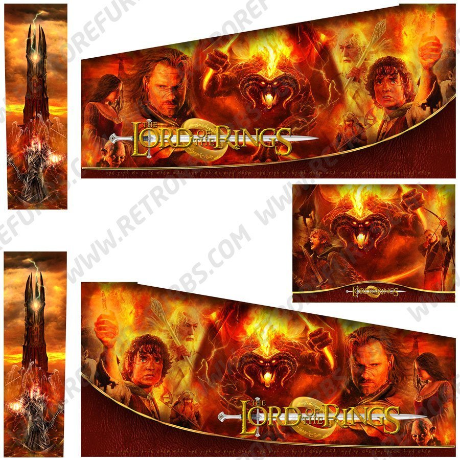 Lord of the Rings Alternate Pinball Cabinet Decals Flipper Side Art Custom Stern