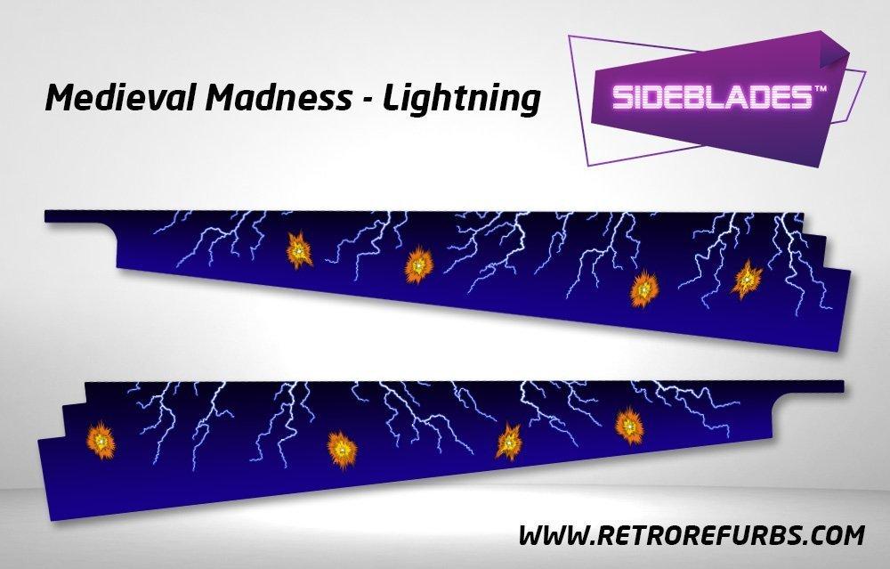 Medieval Madness Lightning Pinball SideBlades Inside Decals Sideboard Art Pin Blades