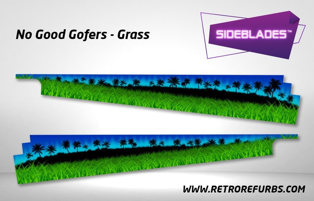 No Good Gofers Grass Pinball SideBlades Inside Decals Sideboard Art Pin Blades