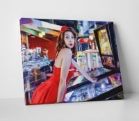 Pinup Girl Pinball Canvas Print Game Room Decor Wall Art