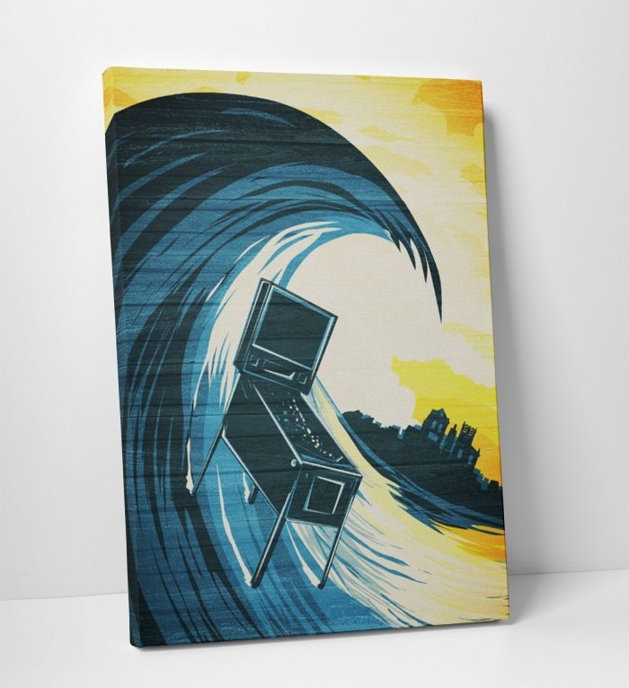 Surfin Pinball Waves Canvas Print Game Room Decor