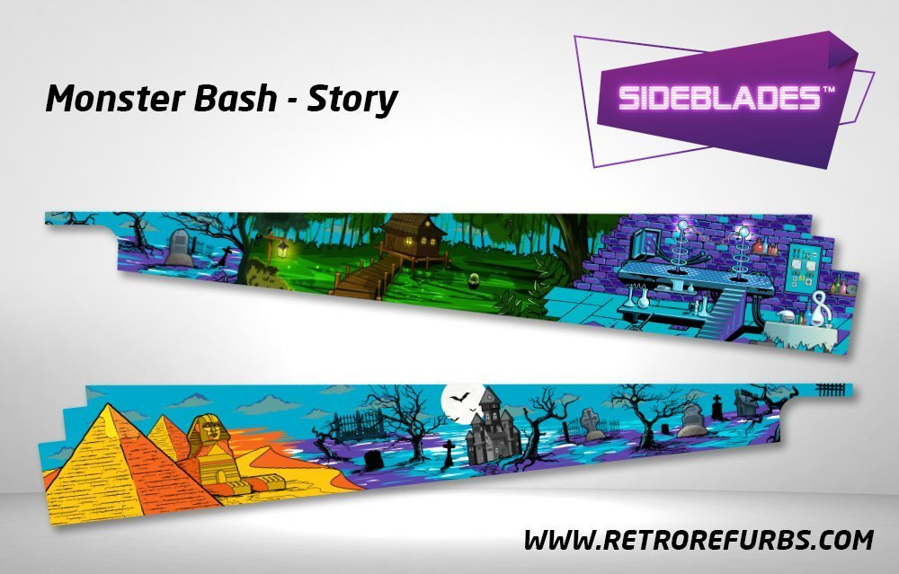 Monster Bash Story Pinball SideBlades Inside Decals Sideboard Art Pin Blades