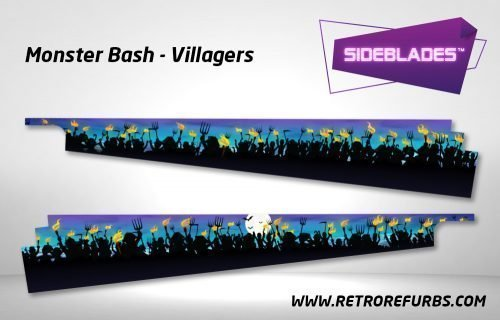 Monster Bash Villagers Pinball SideBlades Inside Decals Sideboard Art Pin Blades