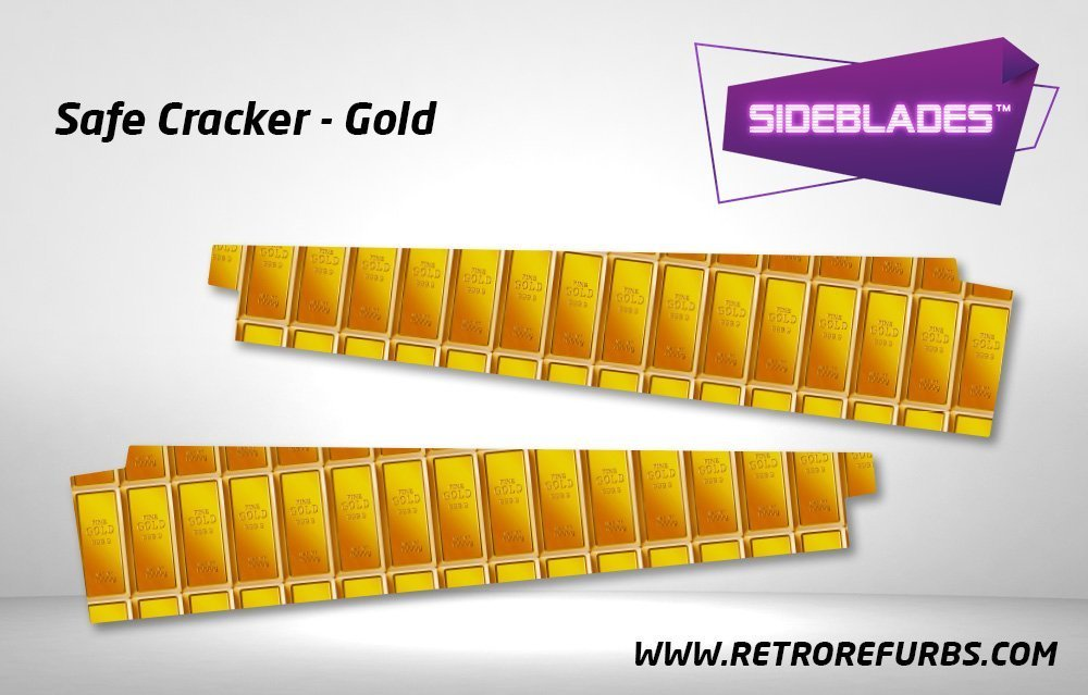 Safe Cracker Gold Pinball SideBlades Inside Decals Sideboard Art Pin Blades