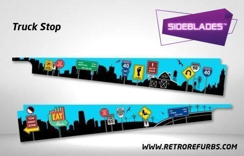 Truck Stop Pinball SideBlades Inside Decals Sideboard Art Pin Blades