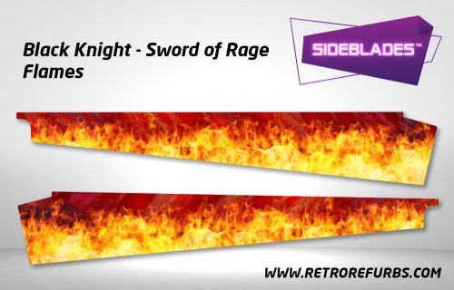 Black Knight Sword of Rage - Flames Pinball Sideblades Inside Inner Art Decals Sideboard Art Pin Blades