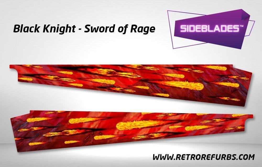 Black Knight Sword of Rage - Original Pinball Sideblades Inside Inner Art Decals Sideboard Art Pin Blades