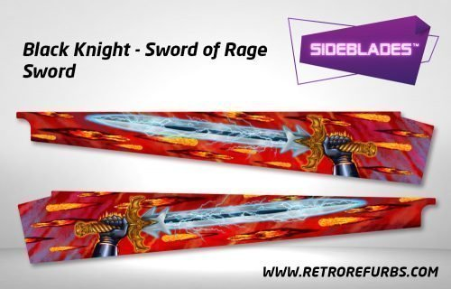 Black Knight Sword of Rage - Sword Pinball Sideblades Inside Inner Art Decals Sideboard Art Pin Blades