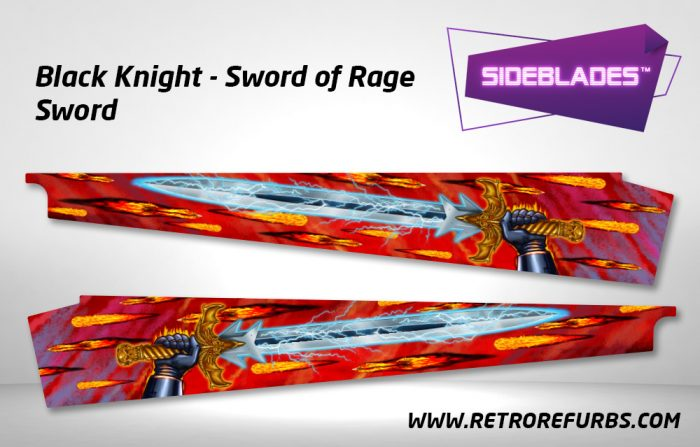Black Knight Sword of Rage - Sword Pinball Sideblades Inside Inner Art Decals Sideboard Art Pin Blades