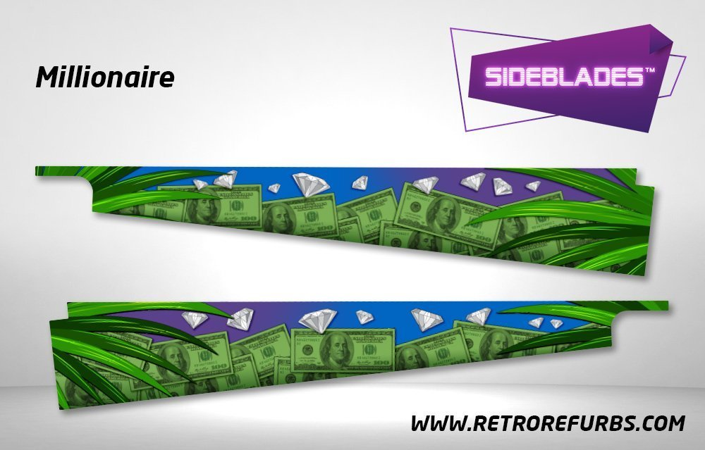 Millionaire Pinball Sideblades Inside Inner Art Decals Sideboard Art Pin Blades