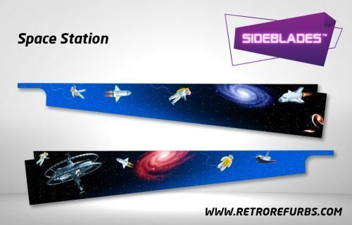 Space Station Pinball Sideblades Inside Inner Art Decals Sideboard Art Pin Blades