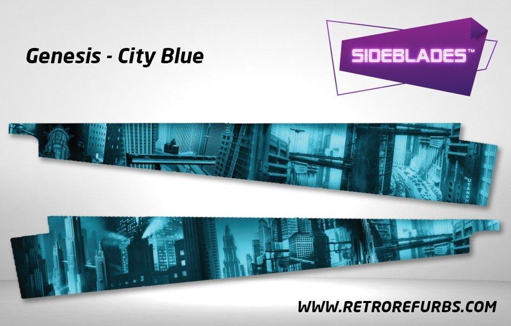 Genesis City Blue Pinball Sideblades Inside Inner Art Decals Sideboard Art Pin Blades