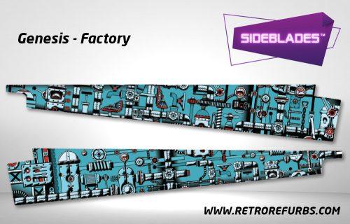 Genesis Factory Pinball Sideblades Inside Inner Art Decals Sideboard Art Pin Blades