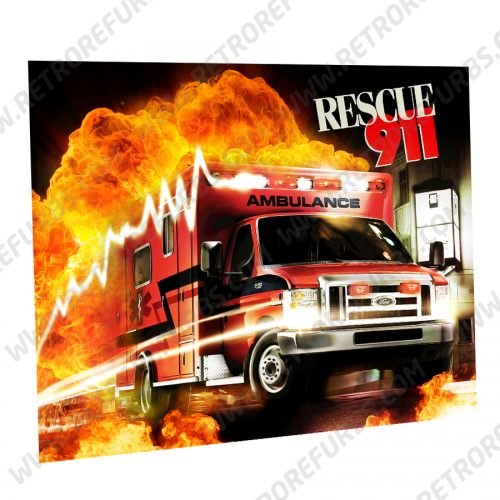 Rescue 911 Ambulance Alternate Pinball Translite Alternative Flipper Backglass