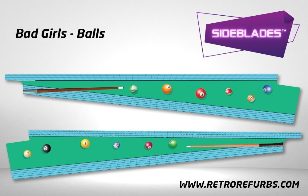 Bad Girls Balls Pinball Sideblades Inside Inner Art Decals Sideboard Art Pin Blades