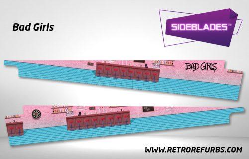 Bad Girls Pinball Sideblades Inside Inner Art Decals Sideboard Art Pin Blades