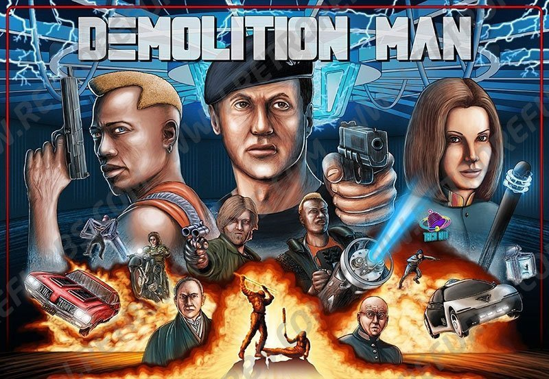 Demolition Man Hand Drawn Alternate Translite from Retro Refurbs 2
