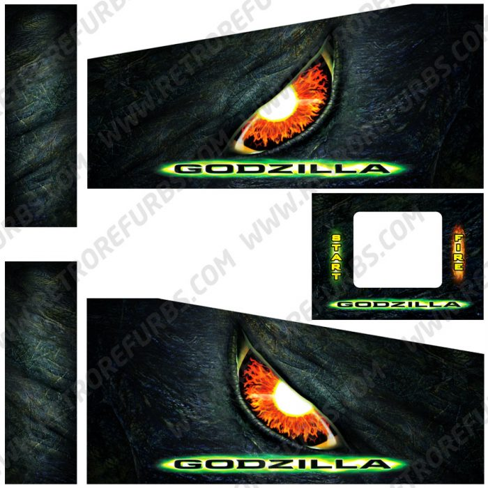 Godzilla 1998 Movie Alternate Pinball Cabinet Decals Flipper Side Art