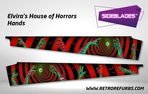 Elvira's House of Horrors - Hands Pinball Sideblades Inside Inner Art Decals Sideboard Art Pin Blades