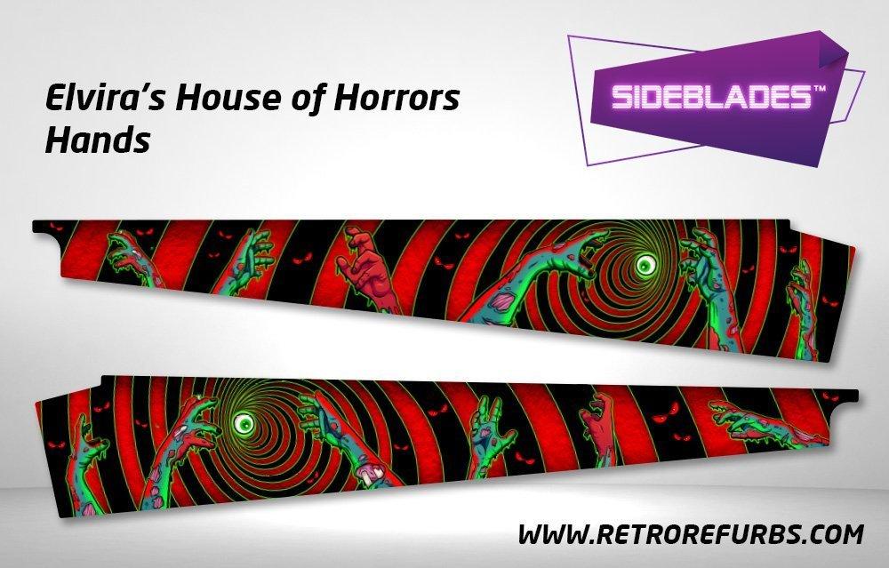 Elvira's House of Horrors - Hands Pinball Sideblades Inside Inner Art Decals Sideboard Art Pin Blades