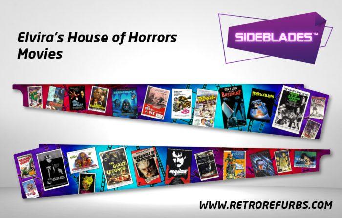 Elvira's House of Horrors - Movies Pinball Sideblades Inside Inner Art Decals Sideboard Art Pin Blades