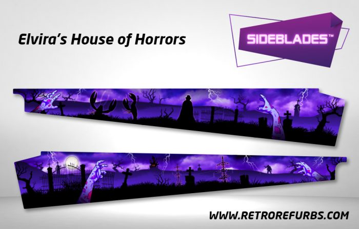 Elvira's House of Horrors Pinball Sideblades Inside Inner Art Decals Sideboard Art Pin Blades
