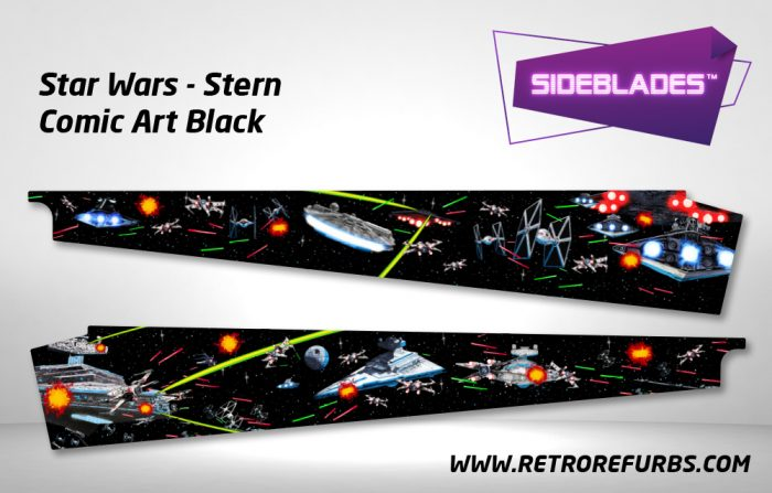 Stern Star Wars Black Comic Art Pinball Sideblades Inside Inner Art Decals Sideboard Art Pin Blades