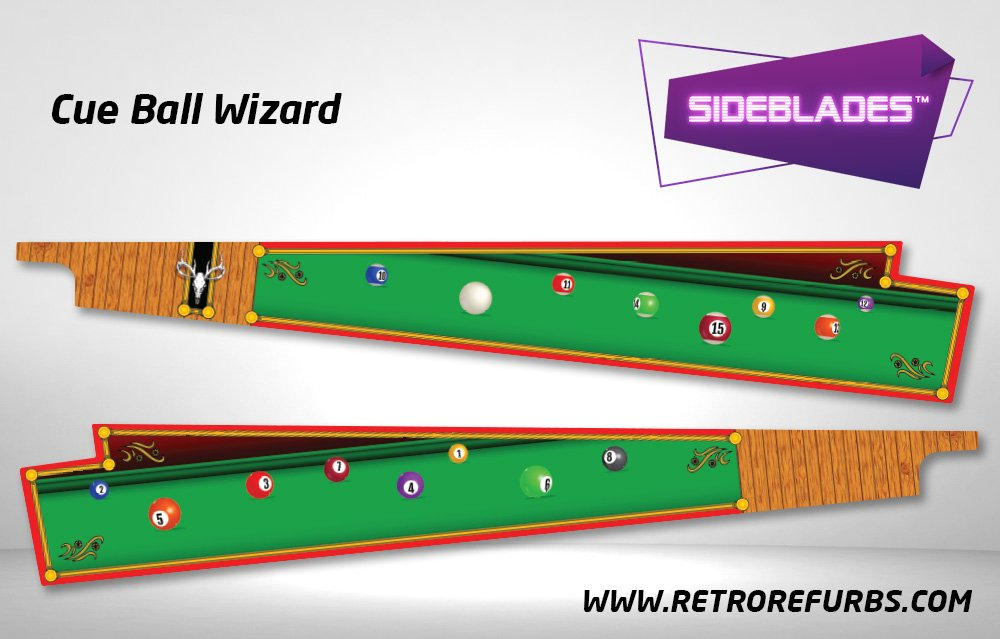 Cue Ball Wizard Pinball Sideblades Inside Inner Art Decals Sideboard Art Pin Blades