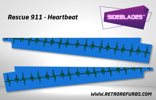 Rescue 911 Heartbeat Pinball Sideblades Inside Inner Art Decals Sideboard Art Pin Blades
