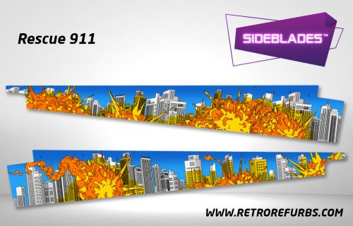 Rescue 911 Pinball Sideblades Inside Inner Art Decals Sideboard Art Pin Blades