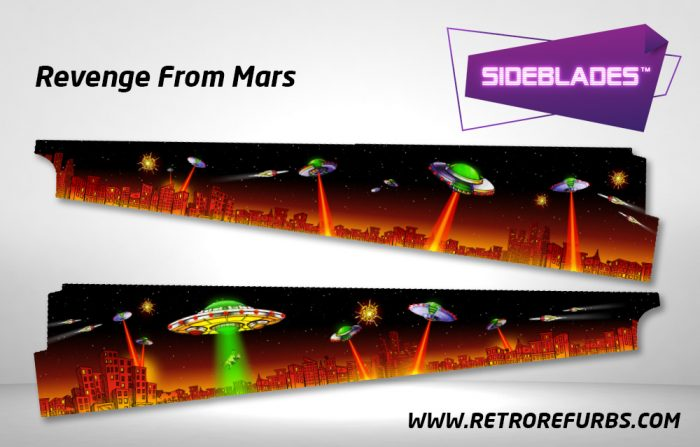 Revenge From Mars Pinball Sideblades Inside Inner Art Decals Sideboard Art Pin Blades