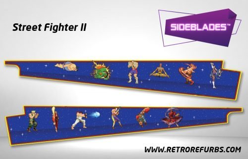 Street Fighter II Pinball Sideblades Inside Inner Art Decals Sideboard Art Pin Blades