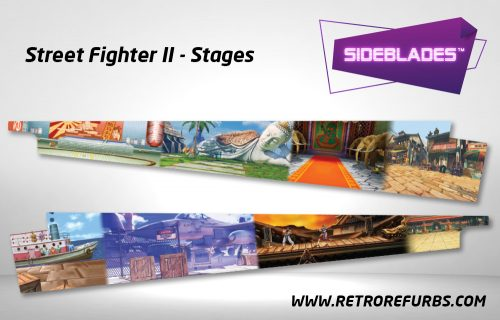 Street Fighter II Stages Pinball Sideblades Inside Inner Art Decals Sideboard Art Pin Blades