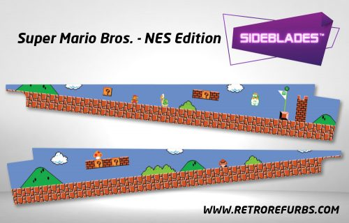 Super Mario Bros NES Edition Pinball Sideblades Inside Inner Art Decals Sideboard Art Pin Blades
