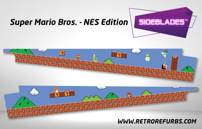 Super Mario Bros NES Edition Pinball Sideblades Inside Inner Art Decals Sideboard Art Pin Blades