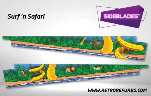 Surf 'n Safari Pinball Sideblades Inside Inner Art Decals Sideboard Art Pin Blades