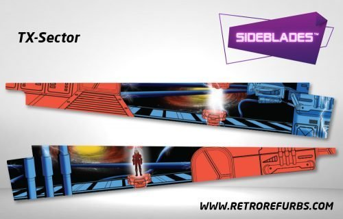 TX Sector Pinball Sideblades Inside Inner Art Decals Sideboard Art Pin Blades