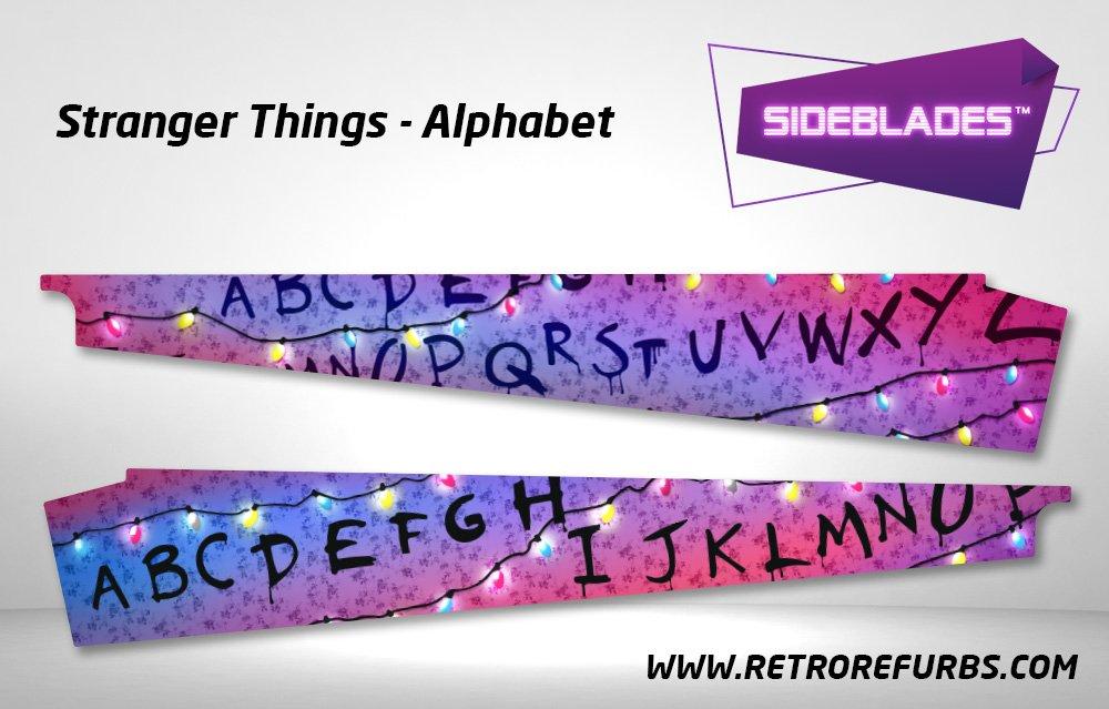 Stranger Things Alphabet Pinball Sideblades Inside Inner Art Decals Sideboard Art Pin Blades