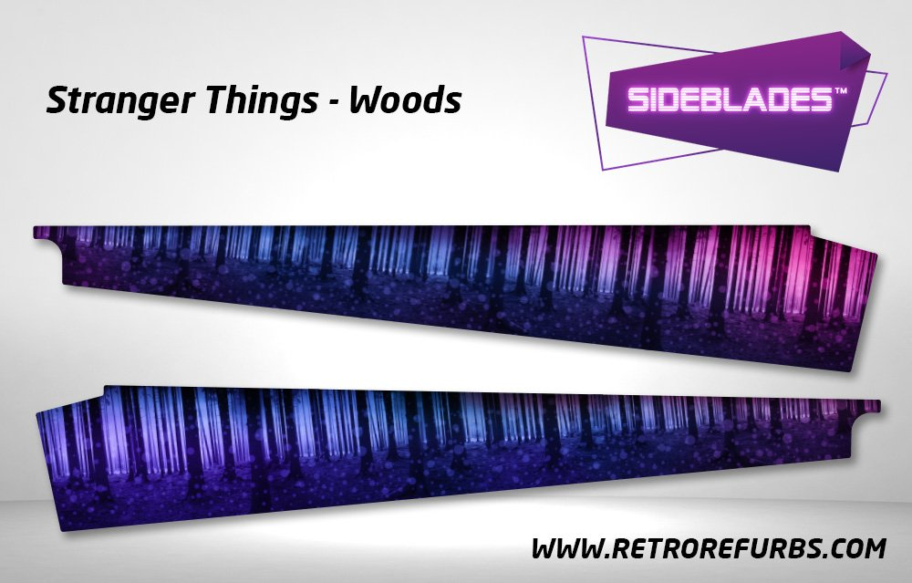 Stranger Things Woods Pinball Sideblades Inside Inner Art Decals Sideboard Art Pin Blades