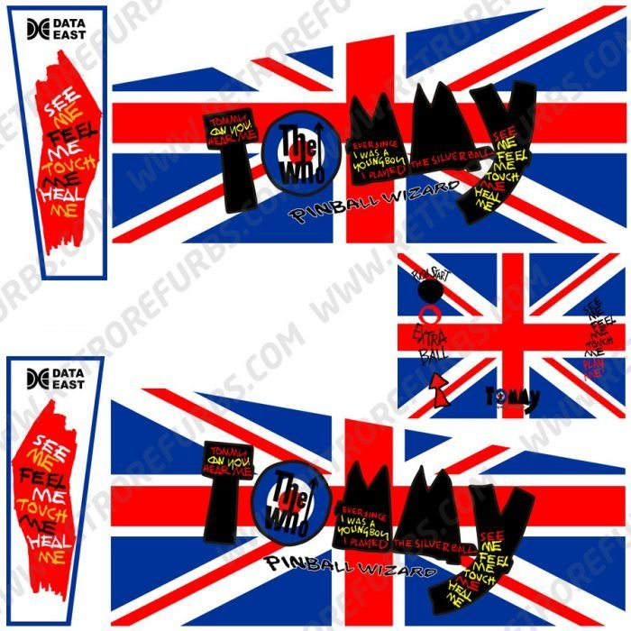 The Who's Tommy British Flah Union Jack Alternate Pinball Cabinet Decals Flipper Side Art Data East