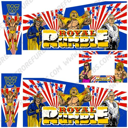 WWF Royal Rumble Original Prototype Alternate Pinball Cabinet Decals Flipper Side Art Data East