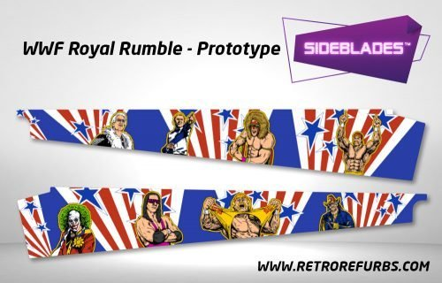 WWF Royal Rumble Prototype Pinball Sideblades Inside Inner Art Decals Sideboard Art Pin Blades