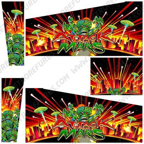 Attack From Mars Martians Alternate Alternate Pinball Cabinet Decals Flipper Side Art Custom Stern