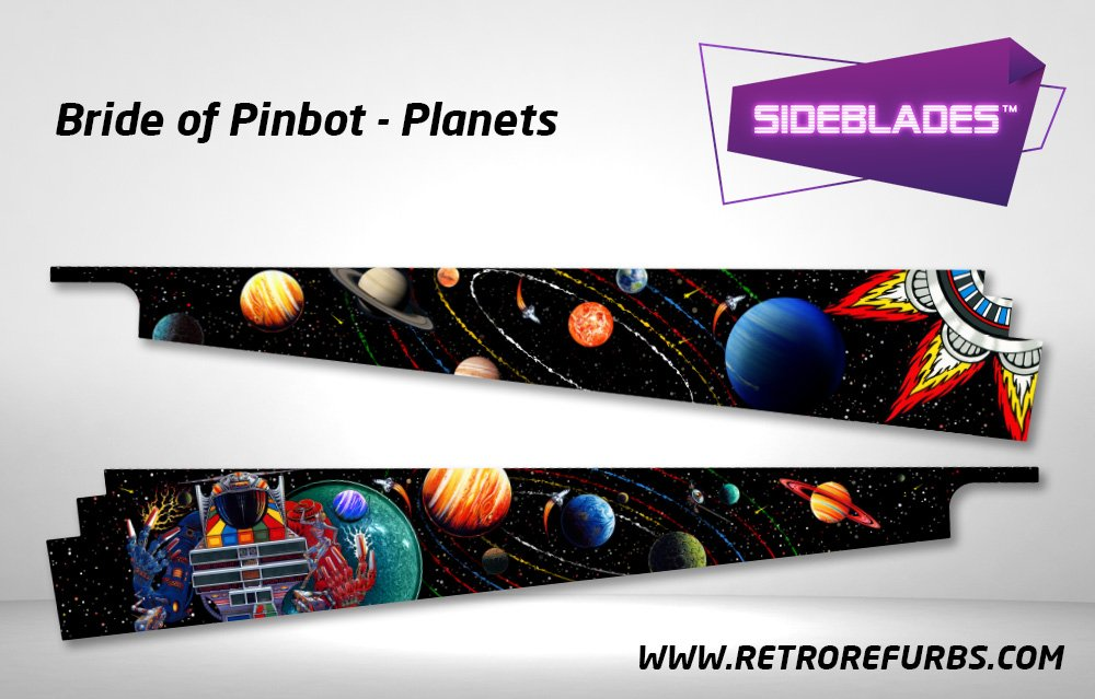 Bride of Pinbot Planets Pinball Sideblades Inside Inner Art Decals Sideboard Art Pin Blades